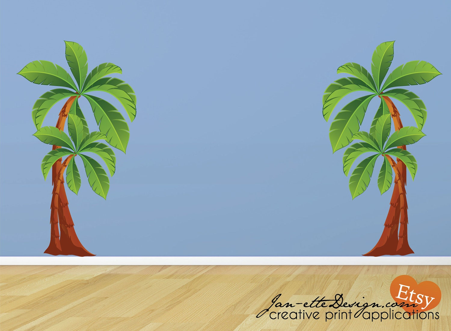 kids palm tree wall decals large removable and reposotionable. Black Bedroom Furniture Sets. Home Design Ideas