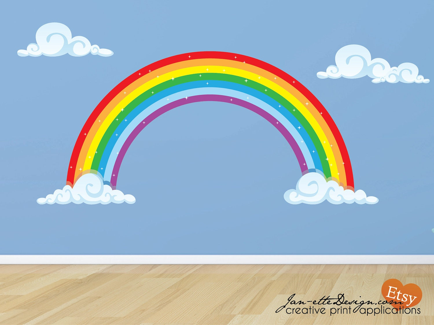 Rainbow Wall Decor Stickers : Rainbow in your room fabric wall decal set