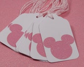 Large Mickey/Minnie Mouse Gift Tags (White w/Pink Glitter) Set of 10