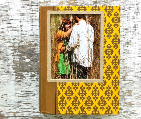 vintage book picture frame.  READABLE vintage book as unique photo frame. yellow mustard, brown, damask. Reader's Digest, 1967.