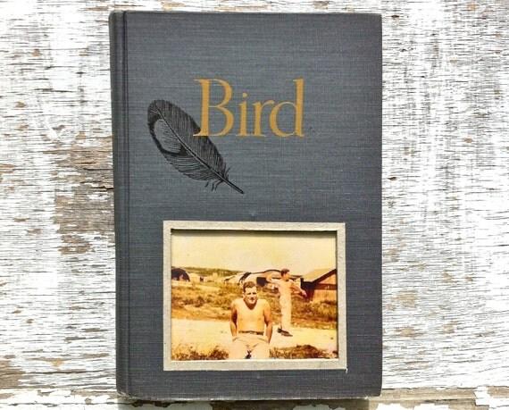 vintage book picture frame.  READABLE vintage book as unique photo frame. navy blue, slate, gold. Bird, 1962.