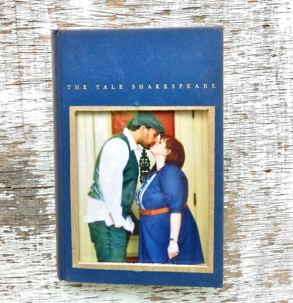 vintage book picture frame.  READABLE vintage book as unique photo frame. cobalt blue navy. Shakespeare's As You Like It, 1954.