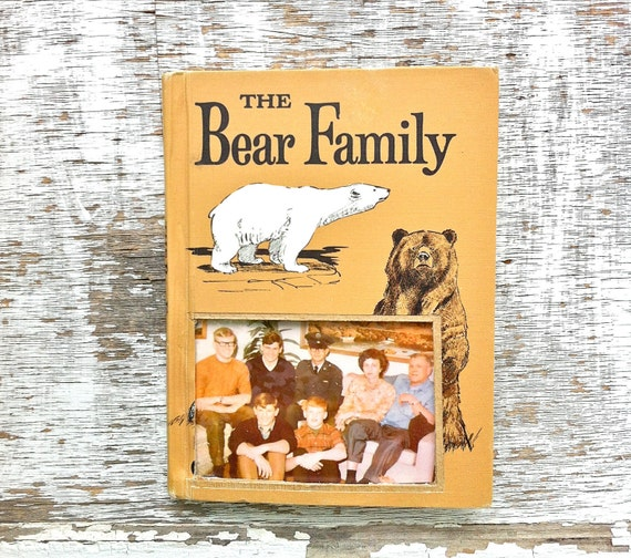 vintage book picture frame.  READABLE vintage book as unique photo frame. tan, ochre, brown. The Bear Family, 1960 - Father's Day Dad gift