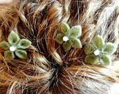 Set of Three Hair Flower Bobbypins in Sage Green Womens Girls Child Teen Adult Hair Accessories
