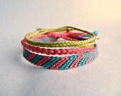Summer Watermelon Bracelets set of 3 Friendship Bracelet Style - Women Girls Teens Accessories Jewelry Adult Children Summer Colors