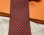 RESERVED - Authentic Vintage Hermes Silk Necktie - gray on red 7299EA