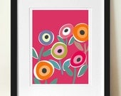 Mid century modern style poster print, FLORIPOP, Pink, Pop Art Floral Print, Scandinavian design, Home Decor, Bedroom wall art, Flower Power