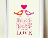 Lyrics Poster, Mid Century Birds Do it, Typography Print, Valentine's poster, Wall Art, Inspirational Quote, Anniversary Gift, Love Print