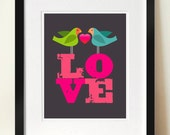 LOVEBIRDS, Mid century poster print, Valentine's, Newlyweds, Housewarming gift, Home decor, Love wall art, Bird print, Love poster