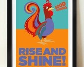 Mid Century modern, retro poster, Russian Cockrel poster print, Rise and Shine! Inspirational quote, motivational poster, wall art