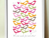 Mid century poster print , Made for each other, love birds on white, 11 x 17 in, A3 artists giclée print