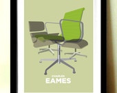 Modern Wall Art, Charles Eames, Eames Furniture, Mid Century Modern, Home Décor, Retro poster, Office Wall Art, Contemporary Print