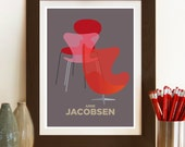 Mid century modern contemporary print, Decorative wall art featuring Jacobsen mid century egg chair, ARNE JACOBSEN SERIES wall art poster