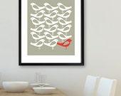 Mid century modern poster print, One Red Bird, Kitchen Wall Art, 16 x 20in, Bird wall art, Home decor, Graphic design, scandinavian design