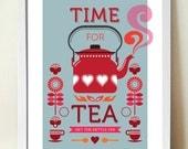 Tea Print, Kitchen Art, Mid century modern, Retro Poster, Time for Tea, Retro Kitchen Art, A3
