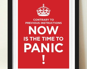 Carry On Poster, Time to panic, Keep Calm Theme, Vintage style poster, Retro poster print, Modern wall art, Home decor, Typography poster