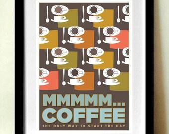 Coffee Print, Kitchen Art, Mid Century Modern, Retro Poster, A4