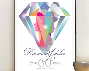 Queen Elizabeth Diamond Jubilee Poster Print, 11x17in (A3) artists giclée print