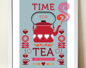 Tea Print, Kitchen Art, Mid century modern, Retro Poster, Time for Tea, Retro Kitchen Art, A3