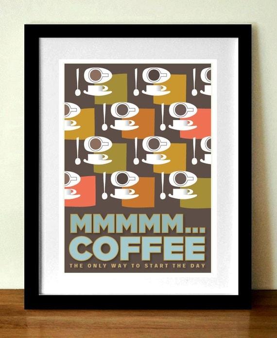 Coffee print, Kitchen Wall Art, Kitchen Décor, Mid Century Modern, Retro poster, Espresso, Contemporary wall art