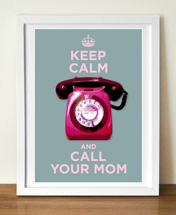 Retro poster, Keep Calm and Call your mom, Vintage style poster, mid century modern style, Modern wall art, Home decor, Typography poster