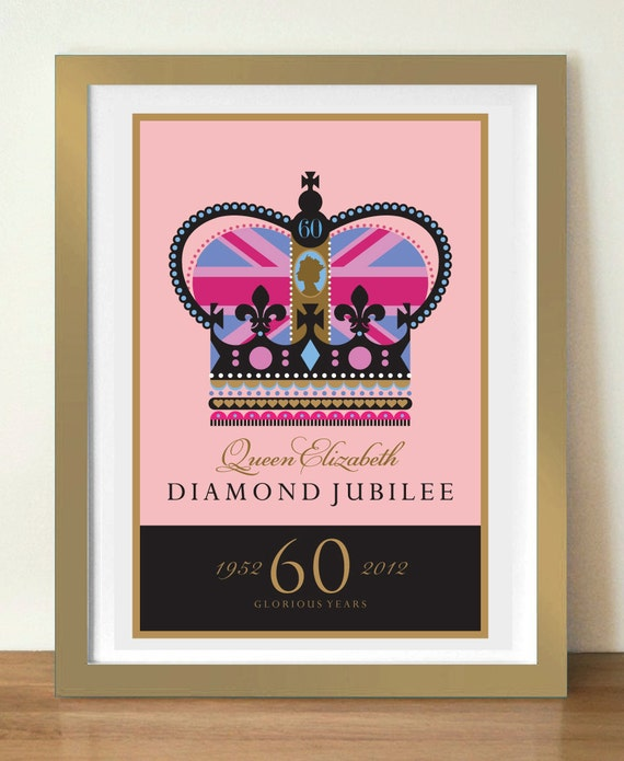 Diamond Jubilee print, Union Jack crown, 11 x 17in (A3) commemorative poster