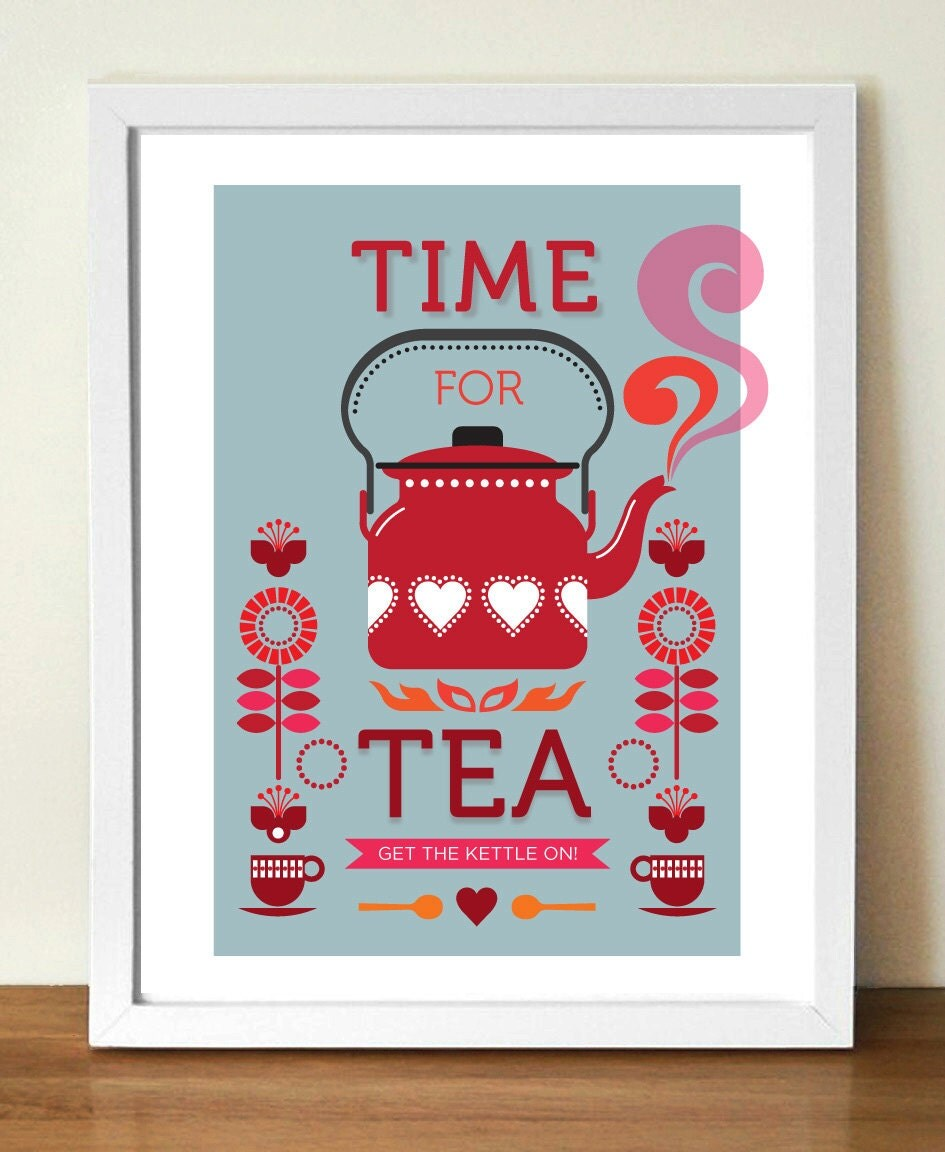 Tea Print Kitchen Art Mid Century Modern Retro By
