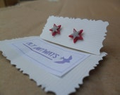 RED SILVER STAR double star post earrings