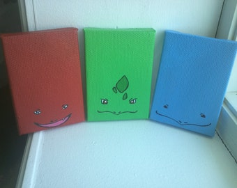 Painted Pokemon Starters Magnets