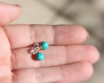Turquoise stud earrings - Turquoise and gold, Turquoise stone post earrings, stud earrings, ball earrings,turquoise earrings