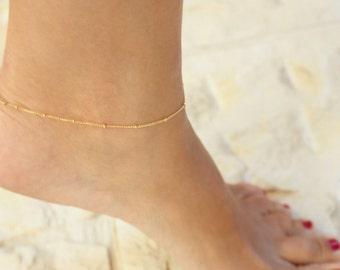 Delicate Gold Anklet - Anklet, ankle bracelet,Satellite,Simple Delicate Anklet,gold ankle bracelet,delicate anklet
