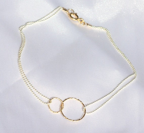 Infinity Linked Anklet - best friend infinity anklet, Tiny Forever Linked Together Circles on Silver Sterling Chain. Sterling Anklet