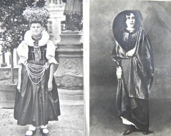 Vintage photo postcards, 1940s - Portrait postcards, old - Photos of national costume, vintage