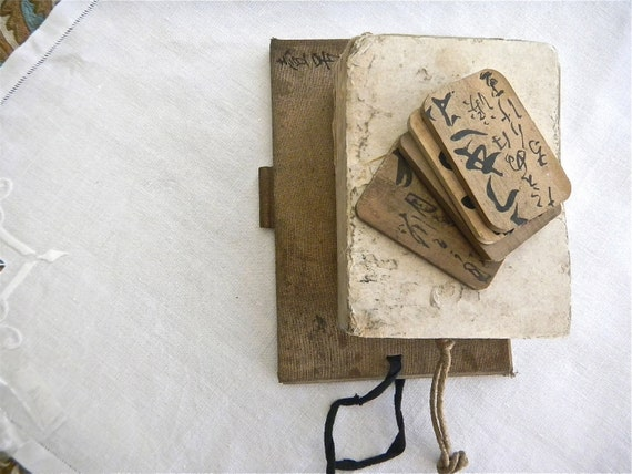 Distressed vintage Japanese notebooks - wooden Geisha temple cards - 1950s Japanese paper books