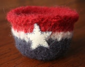 red, white and blue wool felted vessel, star