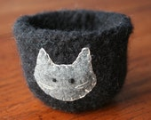 black grey wool felted vessel with kitty cat pet bowl