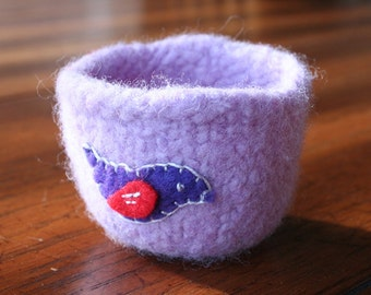 lavender wool felted vessel with bird