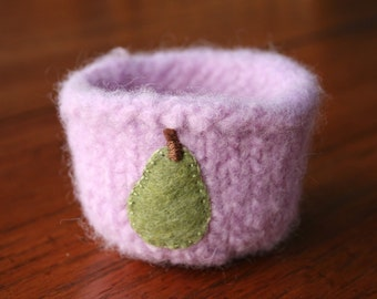 lavender wool felted vessel with pear