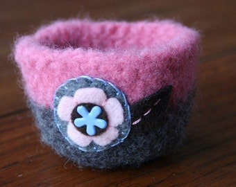 pink and grey wool felted vessel with flower