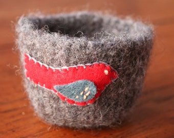 grey wool felted vessel with cardinal bird