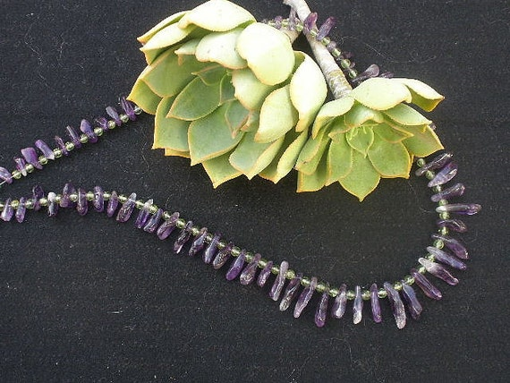 RESEVERED CUSTOM LISTING For Donna:  Dog Tooth Amethyst / Peridot Necklace