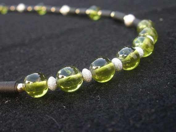 Natural Gemstone Peridot 6mm Round Bead - 925 Sterling Silver / 14kt Yellow Gold Filled - Necklace