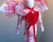 Valentine Angel Red White Toile Cloth Angel Doll