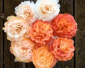 Hand crafted paper flower bouquet - peach to orange - wedding bouquet or centerpiece, mothers day
