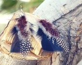 Feather Earrings - Black and White Speckled and Peasant Brown.