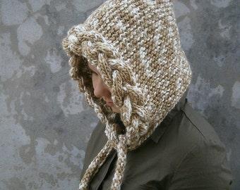 Cap-Hood Super Soft Yarn with Braid Beige and White Colour