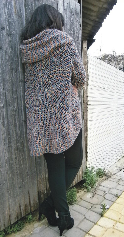 Crochet Jacket Circular Knit Cardigan by ZiroSUN on Etsy