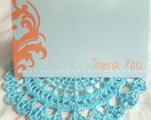 SALE - 20% OFF -- Tangerine Flourish Thank You Card - Blank 4x5.5 Card, Single or Set of 4 - Aqua, Blue, Orange, Pink