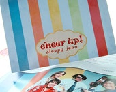 SALE - 10% OFF -- Daydream Believer Notecard - Blank 4x5.5 Note Card, Single or Set of 4 - Rainbow Stripes 1960s The Monkees Retro TV Music