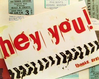 SALE - 25% OFF -- Hey You Graffiti - Blank 4x5.5 Thank You Card - Red Yellow White Olive - Stars Grunge Txt Texting Internet Teen Silly